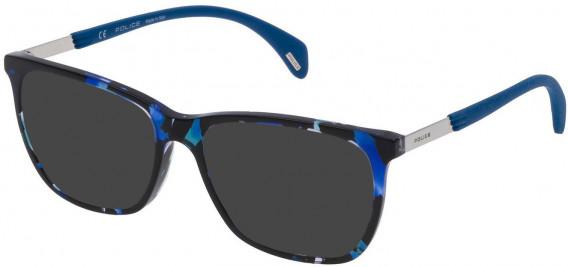 Police VPL630 sunglasses in Blue Havana/Black
