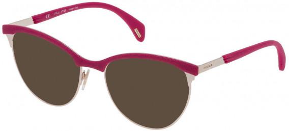 Police VPL629 sunglasses in Shiny Grey Gold