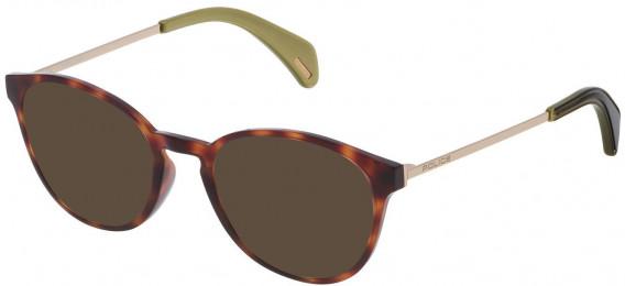 Police VPL626 sunglasses in Havana Brown