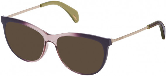Police VPL625 sunglasses in Shiny Dark Liliac Gradient Antique Pink