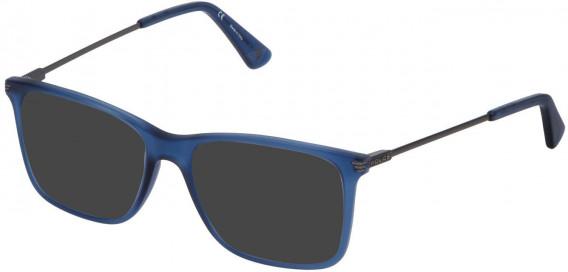 Police VPL563 sunglasses in Matt Transparent Blue