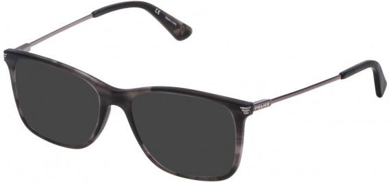 Police VPL563 sunglasses in Matt Striped Grey