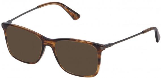 Police VPL563 sunglasses in Shiny Striped Brown/Mustard