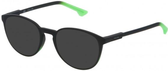 Police VPL557 sunglasses in Shiny Musk Green Gradient Light Green
