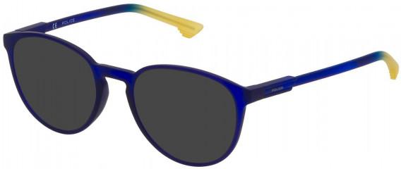 Police VPL557 sunglasses in Rubberized Blue