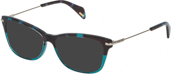 Police VPL506 sunglasses in Turquoise Havana/Turquoise