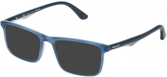 Police VPL467 sunglasses in Shiny Opal Blue