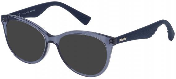 Police VPL413 sunglasses in Shiny Transparent Blue