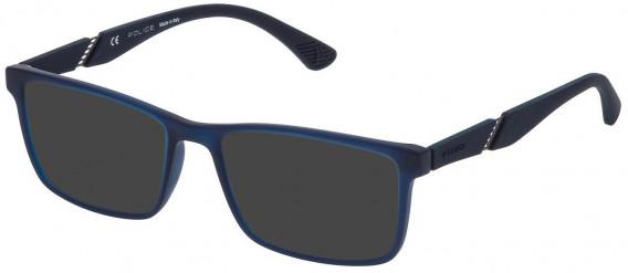 Police VPL389 sunglasses in Rubberized Night Blue