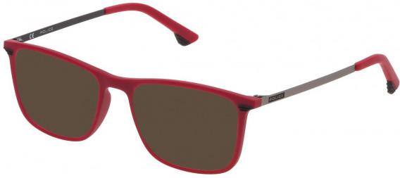 Police VK065 sunglasses in Matt Full Red/Matt Black