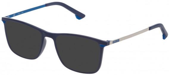 Police VK065 sunglasses in Shiny Full Blue