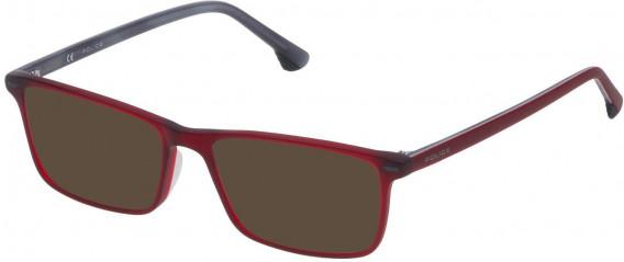 Police VK061 sunglasses in Matt Transparent Bordeaux Red