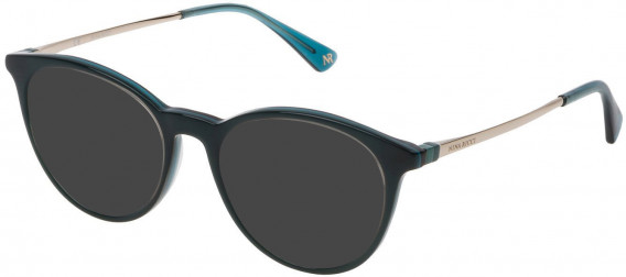 Nina Ricci VNR147 sunglasses in Shiny Full Turquoise/Transparent Turquoise