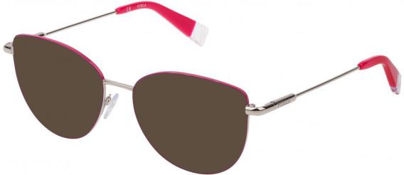 Furla VFU301 sunglasses in Shiny Palladium/Red