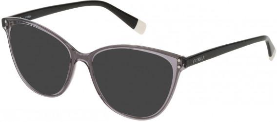 Furla VFU199 sunglasses in Shiny Transparent Grey