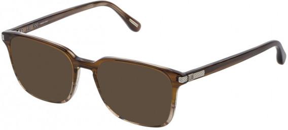Dunhill VDH187M sunglasses in Shiny Striped Ochre/Brown