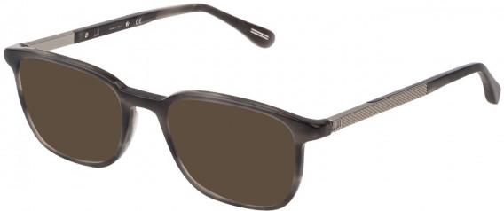 Dunhill VDH148 sunglasses in Shiny Striped Grey Havana