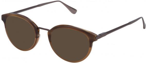 Dunhill VDH084 sunglasses in Semi Matt Striped Brown