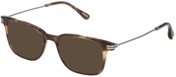 Dunhill VDH073 sunglasses in Shiny Striped Brown/Mustard