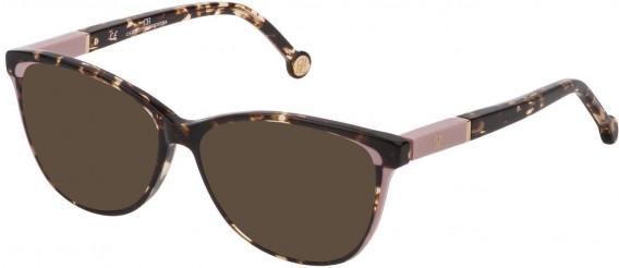 CH Carolina Herrera VHE813 sunglasses in Shiny Havana Honey Tatoo