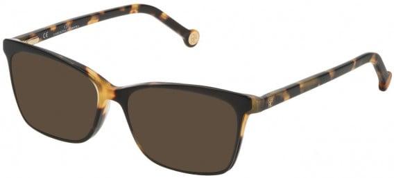 CH Carolina Herrera VHE805 sunglasses in Shiny Black/Honey Havana Feather