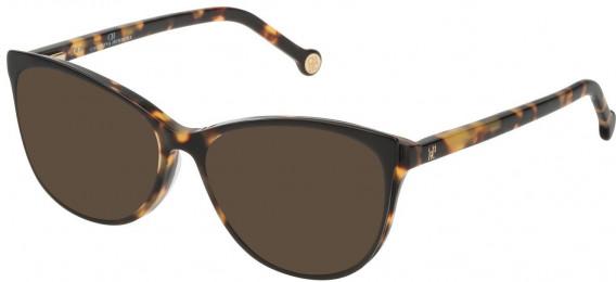 CH Carolina Herrera VHE804 sunglasses in Shiny Black/Honey Havana Feather