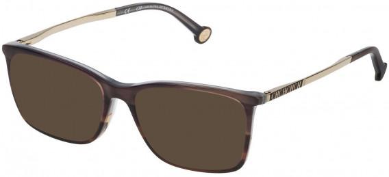 CH Carolina Herrera VHE722 sunglasses in Shiny Brown Striped Havana
