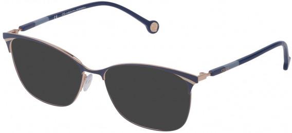 CH Carolina Herrera VHE154 sunglasses in Shiny Rose Gold/Blue
