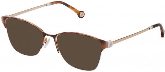 CH Carolina Herrera VHE137 sunglasses in Shiny Rose Gold/Havana