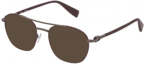 Trussardi VTR358 sunglasses in Shiny Gun/Bordeaux