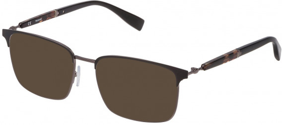 Trussardi VTR353 sunglasses in Shiny Gun/Shiny Black