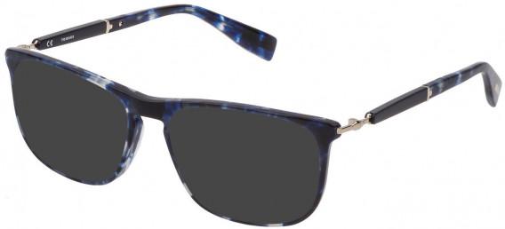 Trussardi VTR352 sunglasses in Transparent Blue Havana