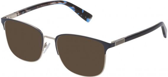 Trussardi VTR311 sunglasses in Shiny Palladium/Blue