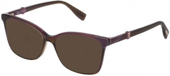 Trussardi VTR309 sunglasses in Violet Horn/Violet