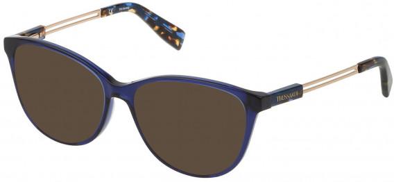 Trussardi VTR307 sunglasses in Shiny Transparent Blue