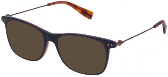 Trussardi VTR246 sunglasses in Shiny Blue Top/Havana