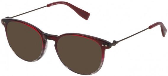 Trussardi VTR245 sunglasses in Shiny Striped Red/Grey