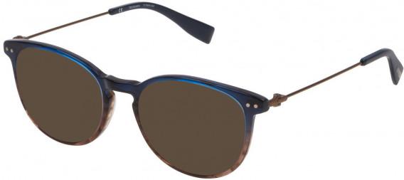 Trussardi VTR245 sunglasses in Shiny Striped Blue/Brown