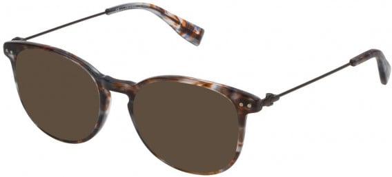 Trussardi VTR245 sunglasses in Shiny Striped Grey/Brown