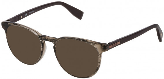 Trussardi VTR243 sunglasses in Shiny Striped Oliva