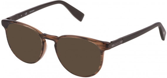 Trussardi VTR243 sunglasses in Striped Bicolor Brown