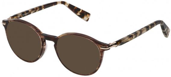 Trussardi VTR192 sunglasses in Shiny Striped Brown