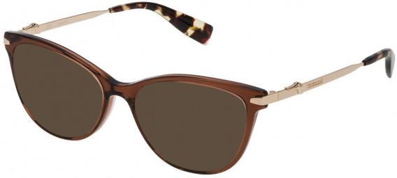 Trussardi VTR190 sunglasses in Shiny Transparent Warm Brown