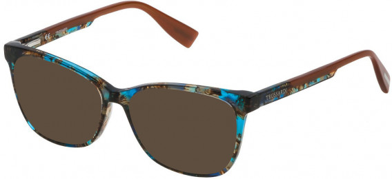Trussardi VTR158N sunglasses in Shiny Brown/Yellow/Turquoise Havana
