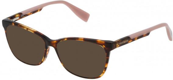 Trussardi VTR158N sunglasses in Shiny Brown/Yellow Havana