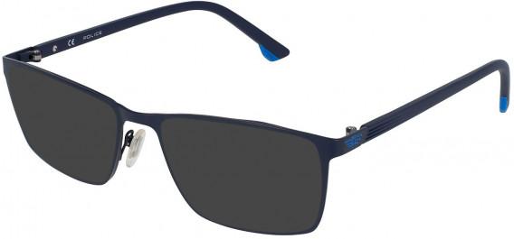 Police VPL951 sunglasses in Blue Matt