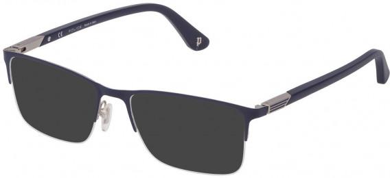 Police VPL884 sunglasses in Matt Palladium/Blue