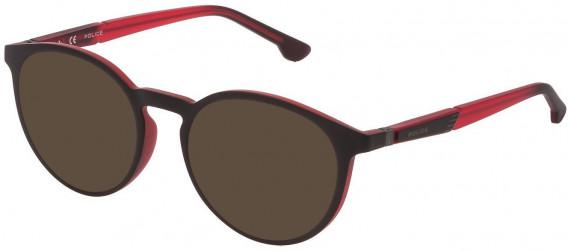 Police VPL878 sunglasses in Red/Grey