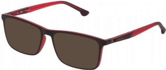 Police VPL877 sunglasses in Red/Grey