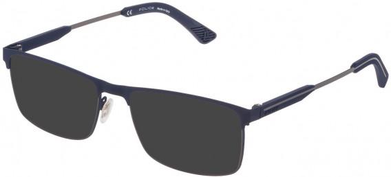 Police VPL798 sunglasses in Rubberized Blue